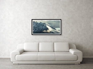 Framed fine photographic and wall art print of the Cathedral Peak in Denali National Park in Alaska with light and shadow perfectly highlighting mountain drama.