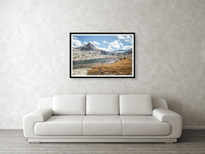 Framed fine photographic and wall art print of dramatic mountain and lake landscapes along the Sierra section of the Pacific Crest Trail.