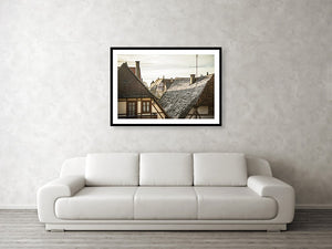 Framed fine photographic and wall art print of the morning sunlit rooftops of the Bavarian and historical town of Rothenburg ob der Tauber in Germany.