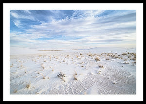 Framed fine photography print of the soft white sand landscape of White Sands National Park in New Mexico.
