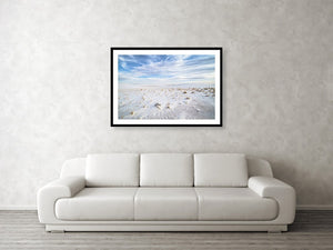 Framed fine photography print and wall art of the soft white sand landscape of White Sands National Park in New Mexico.