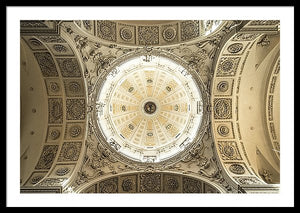Framed fine photography print of the well-illuminated and ornately carved decorated dome of the Theatine Church in Munich Germany.
