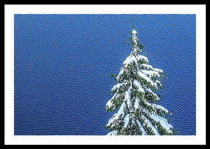 Framed fine print of a snow-capped evergreen on the banks of a wind-rippled Crater Lake National Park in Oregon.