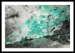 Framed fine photographic and art print of bright blue water melting off a glacier in Wrangell St Elias National Park in Alaska.