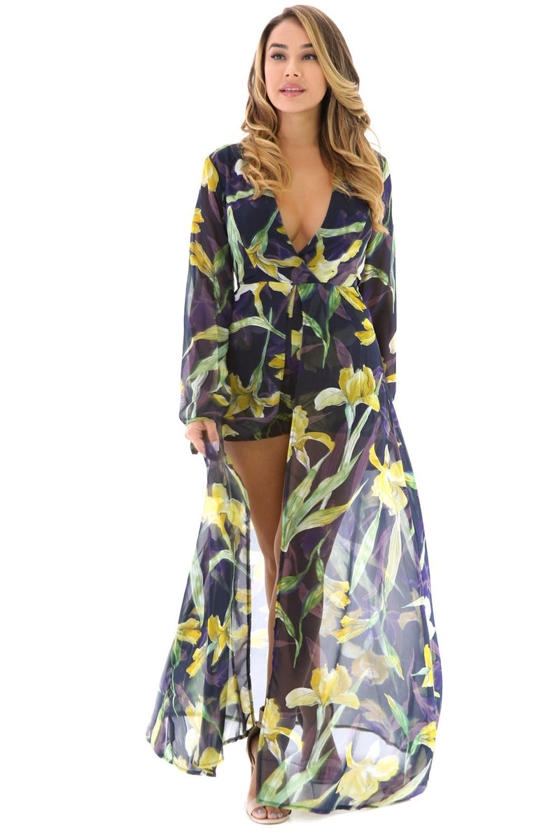Floral Long Sleeve Maxi Romper - Classy & Sassy Styles Boutique