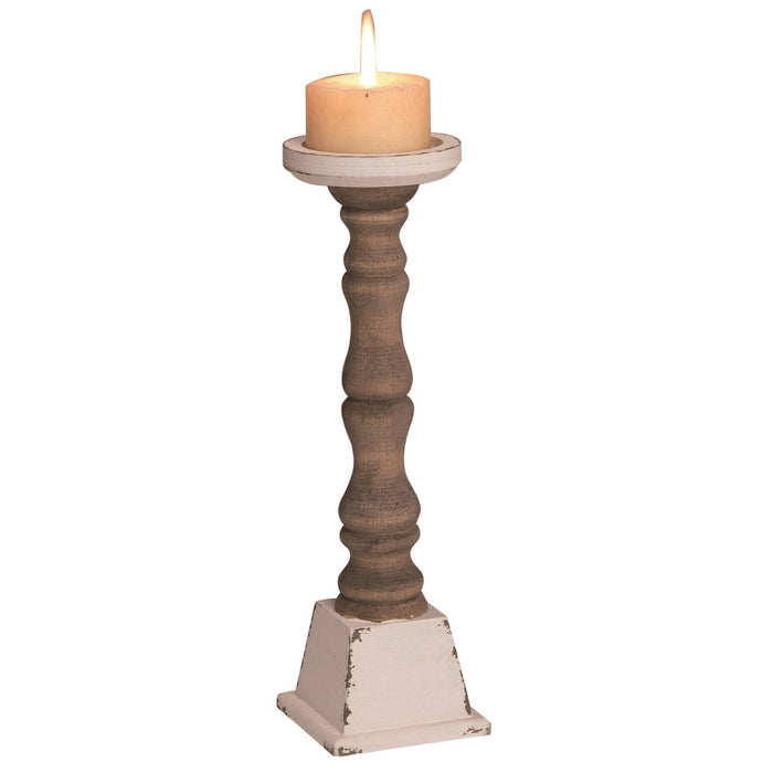 Transpac - Wood 14 in. Brown Spring Cottage Pillar Candle Holder