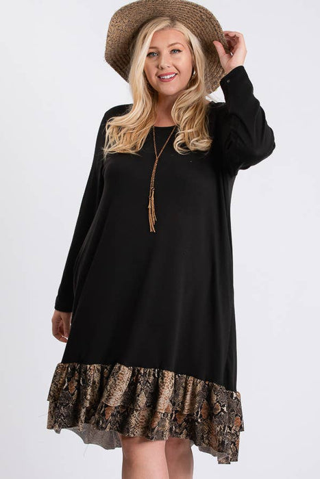 RKAPPAREL INC - PLUS SIZE SNAKESKIN ROUND NECK LONG SLEEVE DRESS