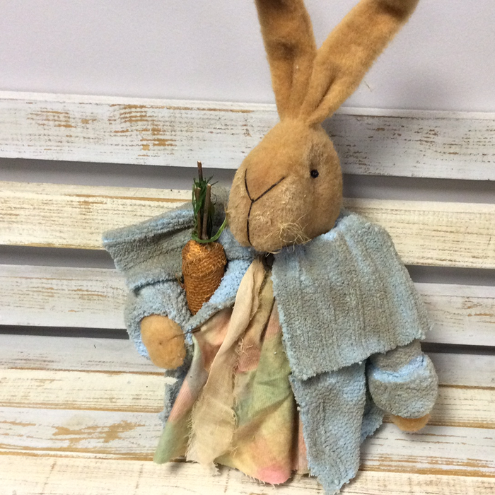 Handmade bunny with blue coat