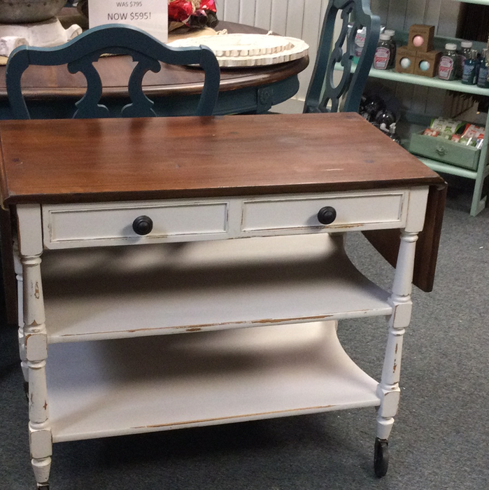 White bar cart with wood top