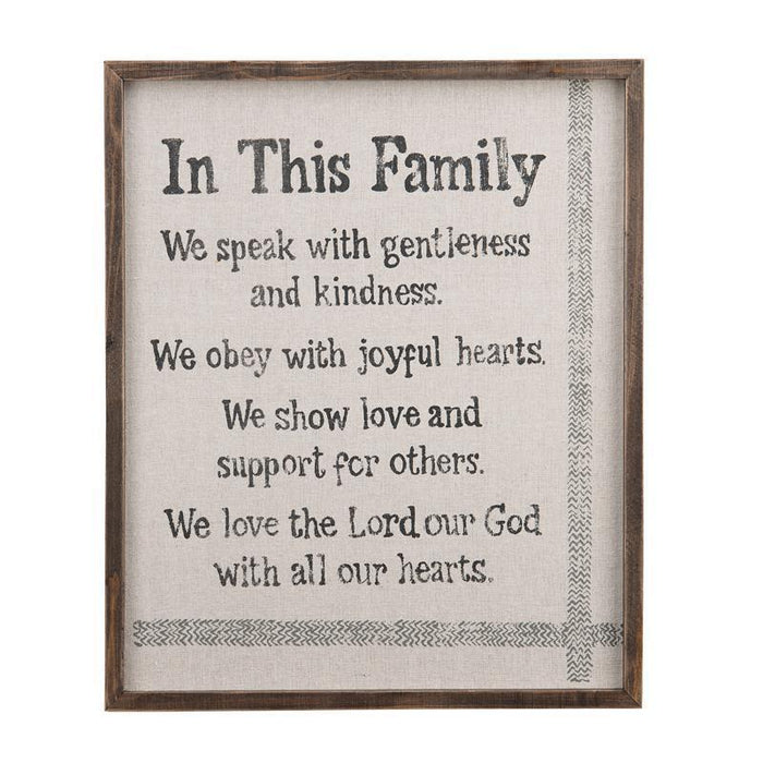 IN THIS FAMILY FRAMED FABRIC BOARD