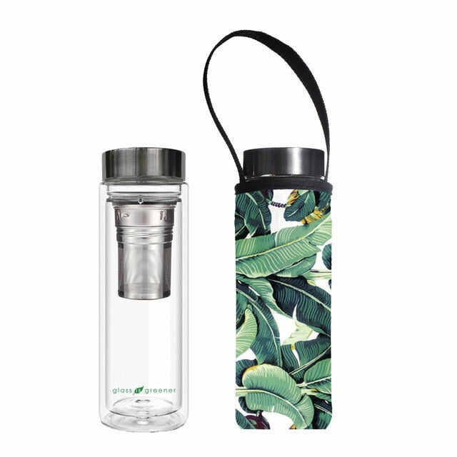 Glass is Greener Tea Flask + Carry Cover - Banana Print