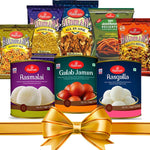 Navratri | Diwali Gift | Haldiram Sweet & Spice Festive Gift Hamper with Coin of Laxmi Ganesh Ji in red Gift Box