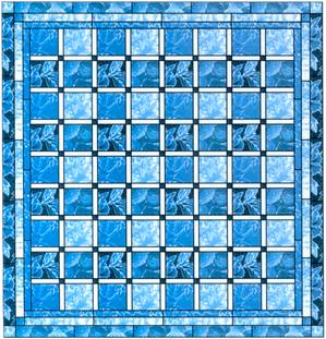 Quilt Pattern Queen Size Blue Ice