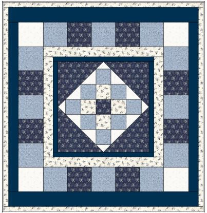 Quilt Pattern 10 Yd Queen Simply Susan Blue/White