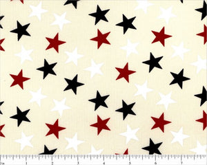 "108"" Red White and Blue Medium Stars on Cream Backing"