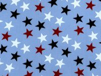 Red White and Blue Stars on Light Blue Background