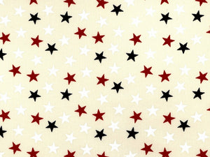 "108"" Red White and Blue Small Stars on Cream Backing"