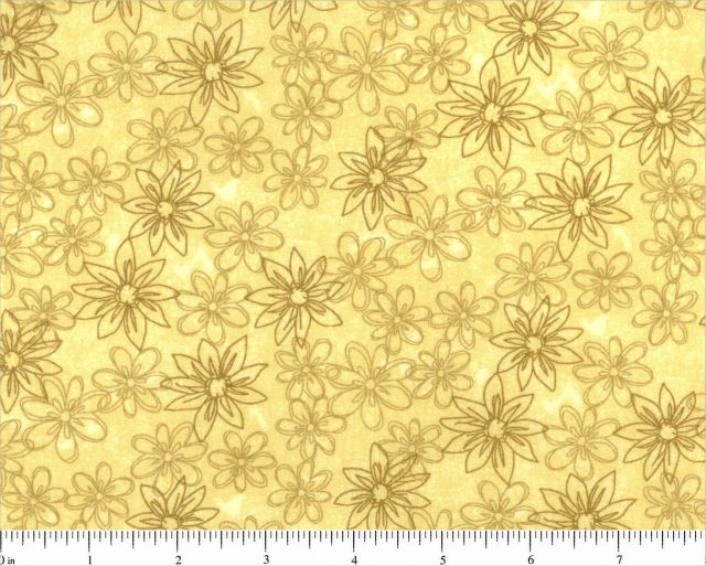 Yellow Sketched Floral Backing