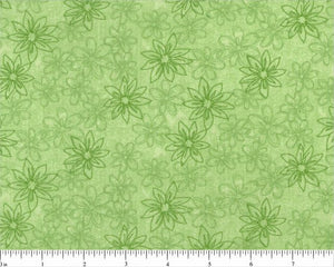 "108"" Green Sketched Floral Backing"