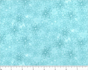 Aqua Sketched Floral Backing