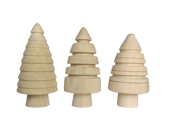 Textured Fir Trees - set of 3