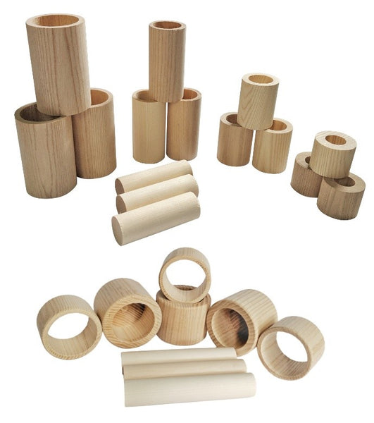 Wood Nesting Tubes, Cups, and Rings Set - 24 Pieces