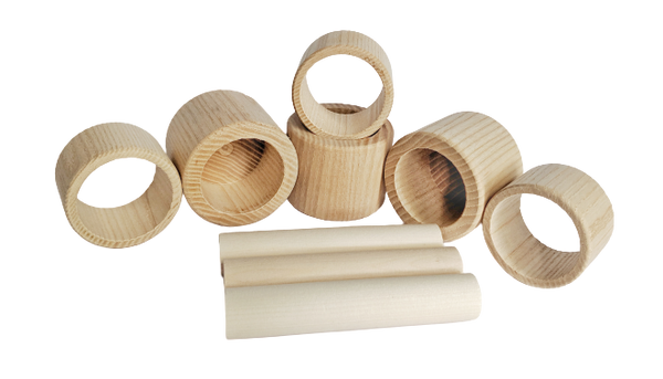 Wood Cups & Rings set - 9 pieces