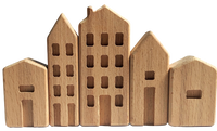Mini wood houses - set of 5