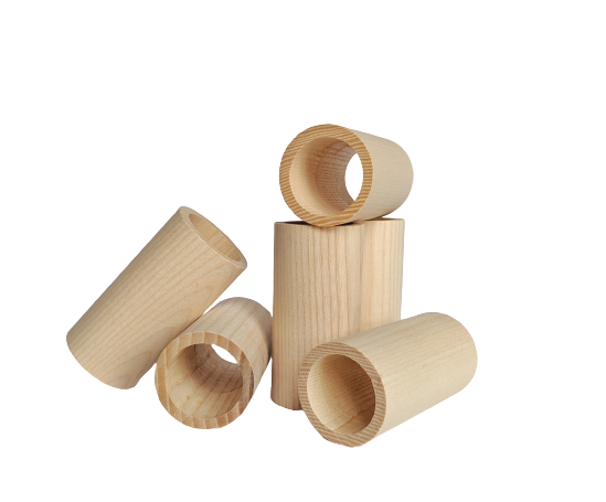 wood tube 3 inches tall by 1.5 inches wide with 1.125 inch hole