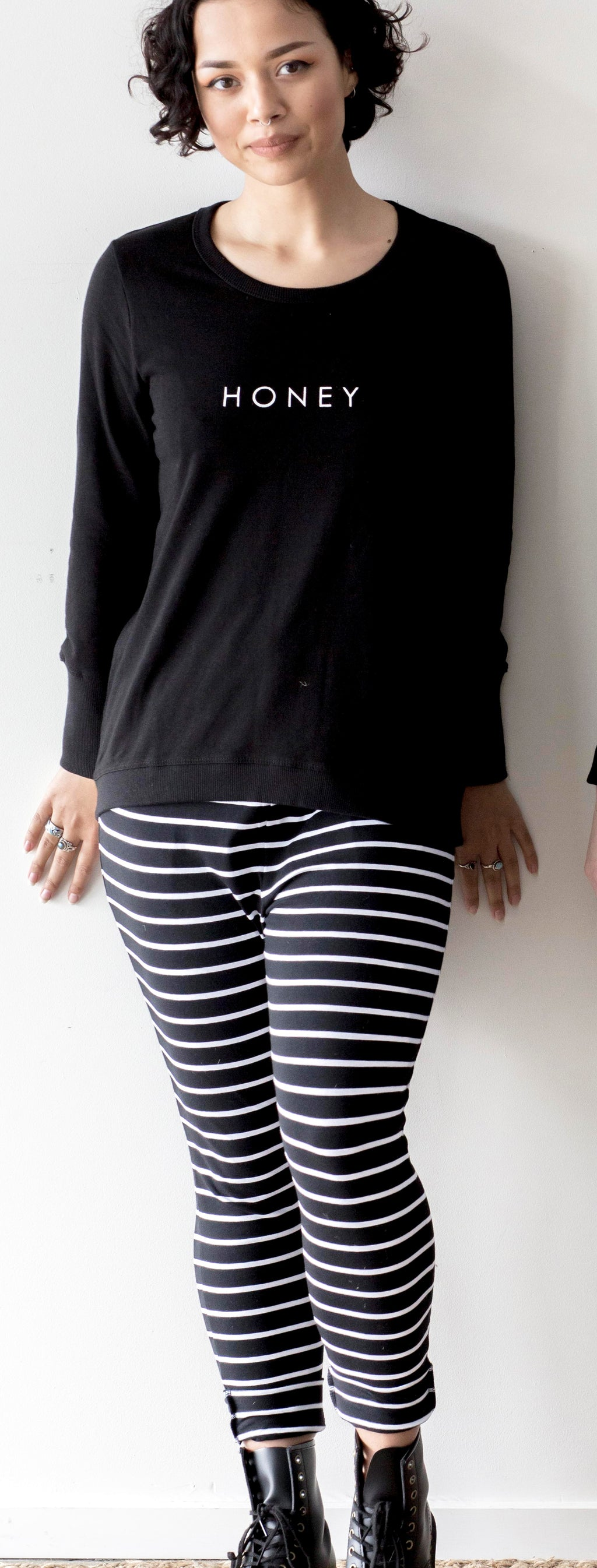 Black & White Stripe Lounge Pant