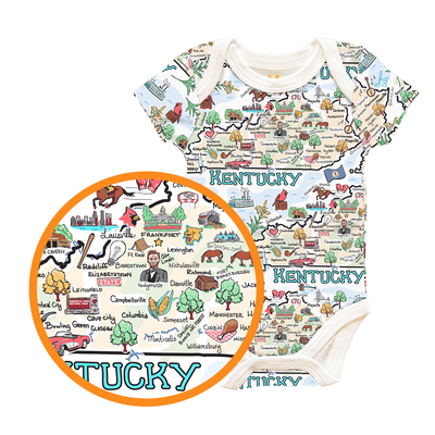 Kentucky Map Baby One-Piece - PIMA