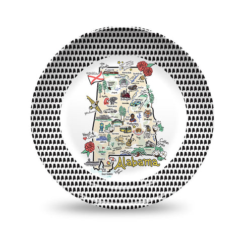 Alabama Map Black & White Plate