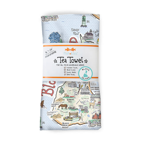Block Island Map Tea Towel