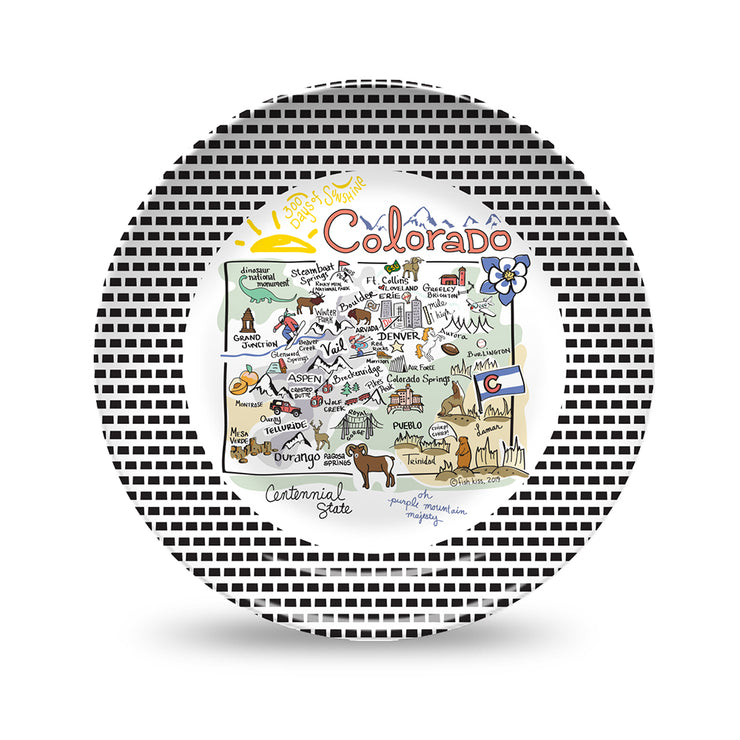 Colorado Map Black & White Plate