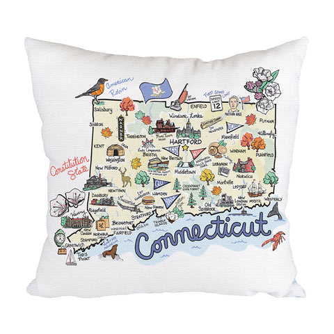 Connecticut Map Pillow