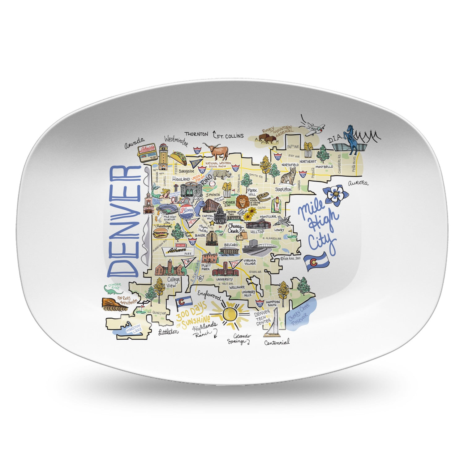 Denver City Map Platter