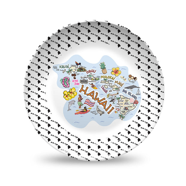 Hawaii Map Black & White Plate