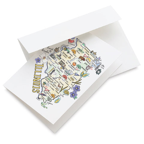 Illinois Map Greeting Card