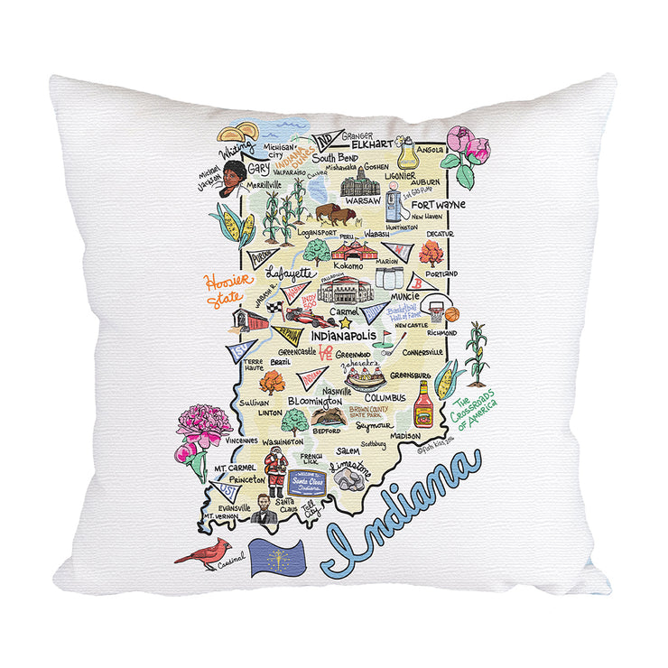 Indiana Map Pillow