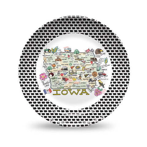 Iowa Map Black & White Plate