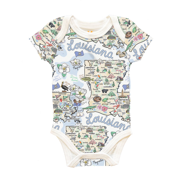 Louisiana Map Baby One-Piece - PIMA
