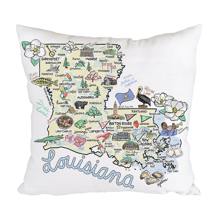 Louisiana Map Pillow
