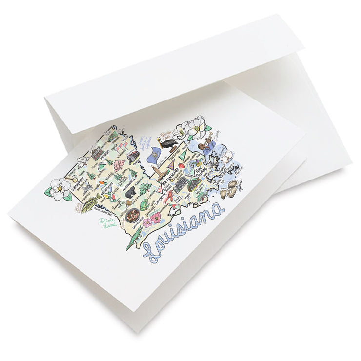 Louisiana Map Greeting Card