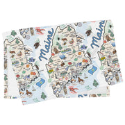 Maine Map Tea Towel