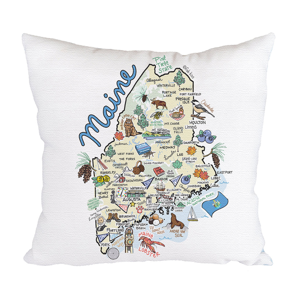 Maine Map Pillow