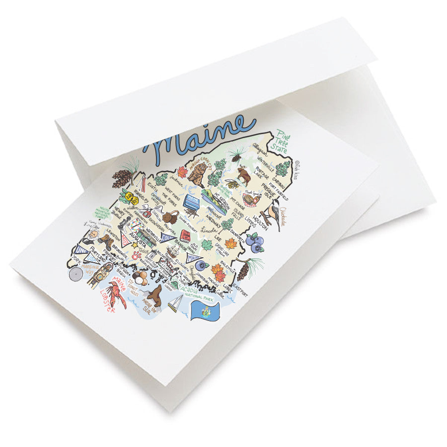 Maine Map Greeting Card