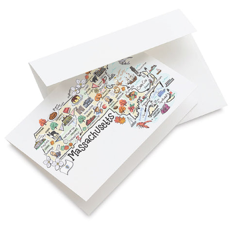 Massachusetts Map Greeting Card