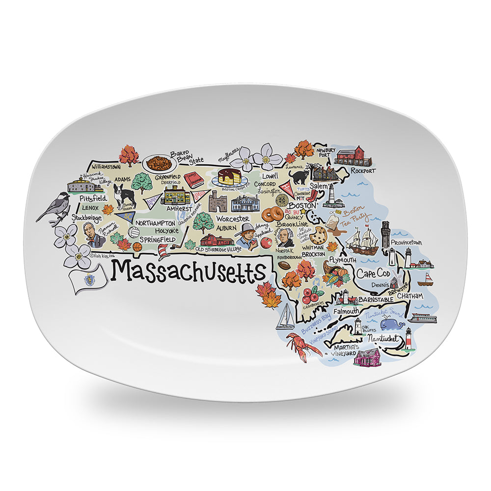 Massachusetts Map Platter