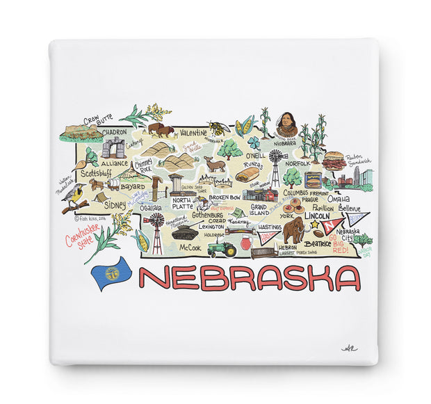 Nebraska Square Canvas Art