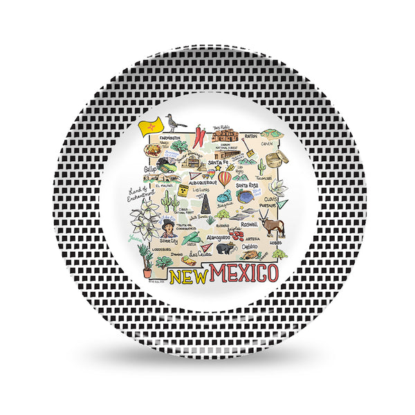 New Mexico Map Black & White Plate